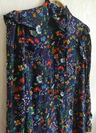 Платье, с оборками. цветочный принт.h&m.10 фото