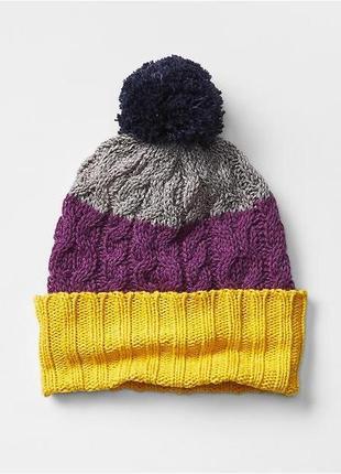 Шапка с байковой подкладкой новая (stripe pom-pom hat) размер xs/s (tp/p)(46-48cm)1 фото