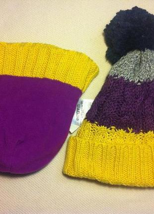 Шапка с байковой подкладкой новая (stripe pom-pom hat) размер xs/s (tp/p)(46-48cm)2 фото