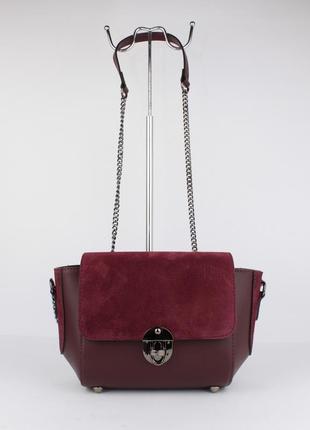 Кожаная сумочка с замшевыми вставками borse in pelle 323902 темно-бордовая, италия