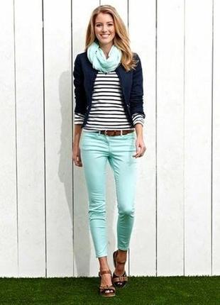 Джинсы, женские, подростковые, брюки, узкие, мятные, 170