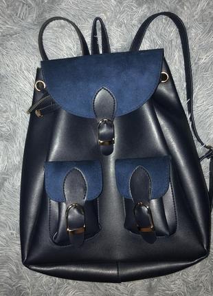 Синий модный ретро рюкзак