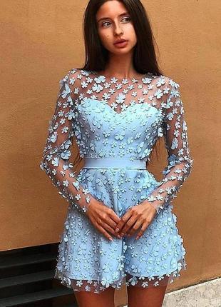 Шикарное сексуальное бандажное платье сетка аппликация цветы мини утягивающее голубое