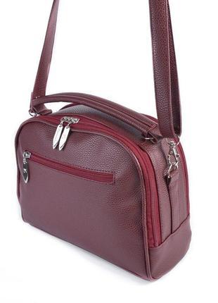 Бордовая молодежная сумочка с маленькой ручкой и ремешком через плечо2 фото