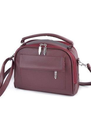 Бордовая молодежная сумочка с маленькой ручкой и ремешком через плечо