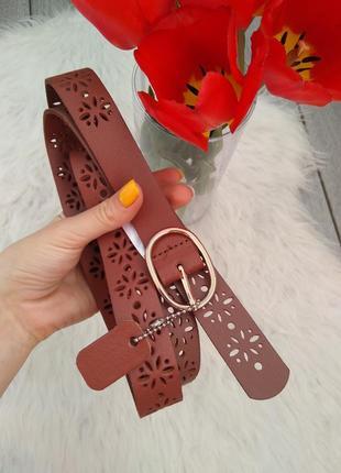 C&a кожаный ремень пояс фирменный коричневый