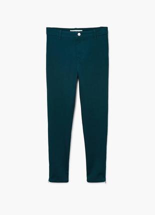 Темно-зеленые брюки в обияжку с молниями mango