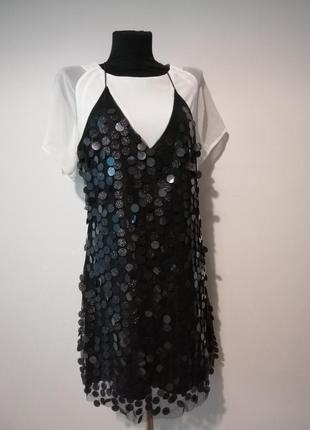 Коротинькое платье /туника /удлиненная майка в паетках