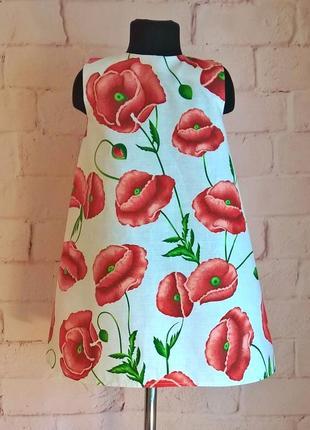 Сарафан для девочек. сарафан платье. принт маки.  длина 66 см