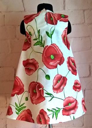 Сарафан для девочек. сарафан платье. принт маки.  длина 66 см3 фото