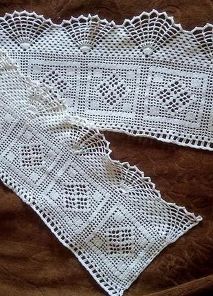 Узкая скатерть вязаная салфетка ажурная