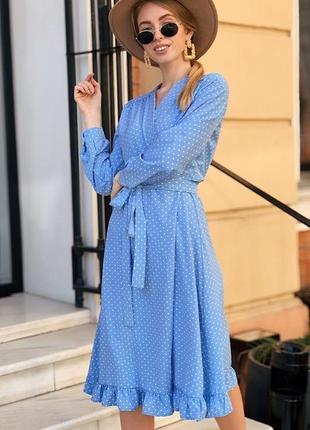 Платье на запах голубое в горошек 52850