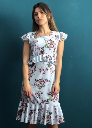 Акция 3 дня распродажа красивое короткое голубое платье с цветами s