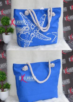 Женская тканевая пляжная сумка ракушки