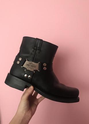Новые кожаные демисезон ботинки чоботы мужские чоботи сапоги шкіряні 45р harley davidson