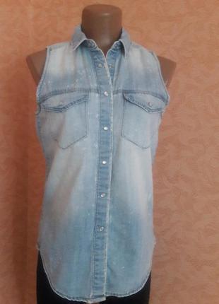 Вареная джинсовая рубашка без рукавов