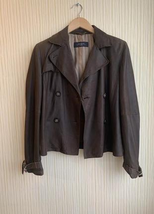 Оригинал max mara идеальная коричневая кожаная куртка кежуал