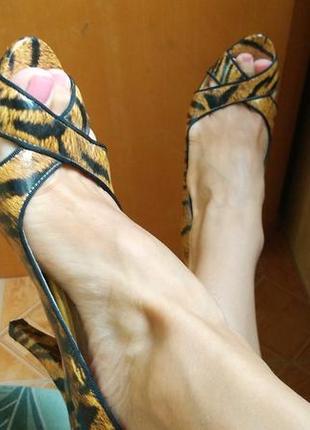 Лаковые кожаные туфли лодочки в анималистичный принт тигровый леопардовый10 фото