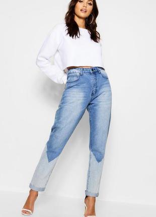 Крутые джинсы бойфренды, джинсы с контрастным низом, два цвета денима - тренд года!