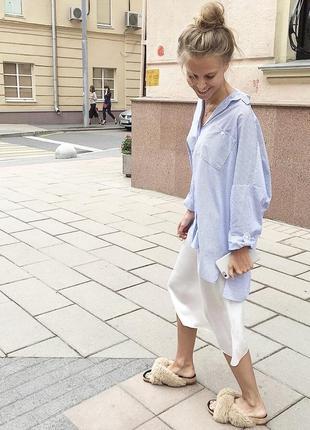 Удлиненная оверсайз рубашка в мелкую полоску