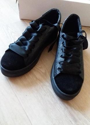 Кожаные кроссовки-кеды5 фото