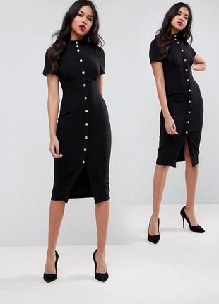 Платье миди в корсетном стиле с высоким воротом на кнопках asos