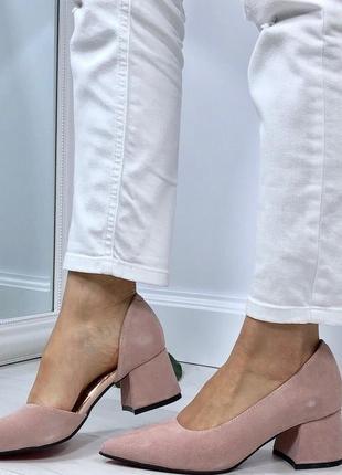 Натуральный замш люксовые туфли цвета пыльная роза на среднем каблуке