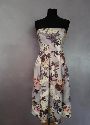 Нежное цветочное миди платье бюстье с пышной юбкой