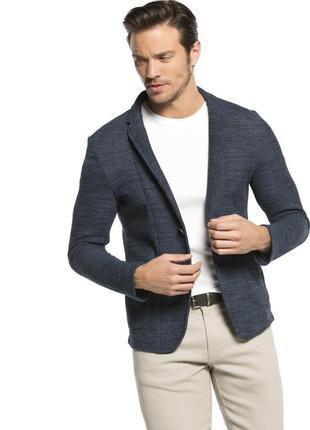 Мужской пиджак серо-синий lc waikiki / лс вайкики с накладными карманами