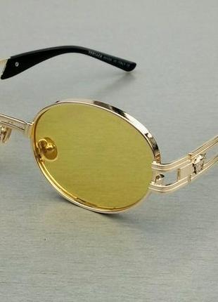 Versace очки унисекс солнцезащитные в золотой металлической оправе линзы желтые