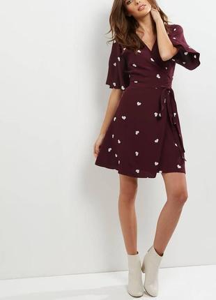 Бордовое платье в сердечки new look new look1 фото
