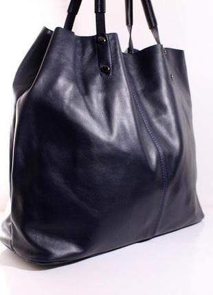"Шикарная кожаная сумка ""шопер "" lavarazione artigianale, италия1 фото"