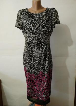 Шифоновое красивое платье миди marks&spencer uk 12/40,/m