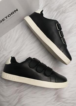 Tretorn оригинал черные кожаные кеды на липучках бренд из сша