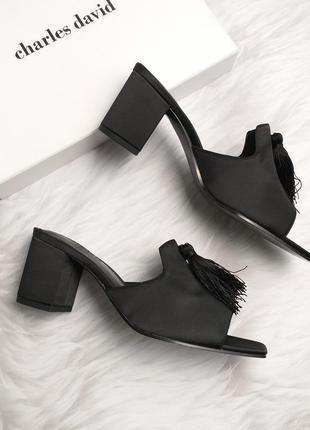 Charles david оригинал босоножки сабо мюли на широком каблуке с кисточкой бренд из сша