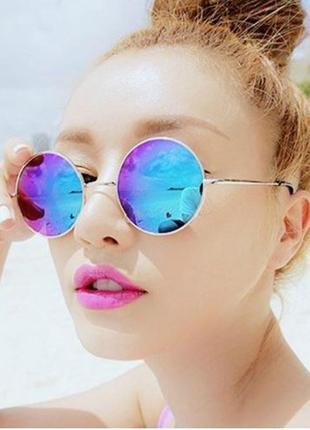 Солнцезащитные очки, окуляри,круглые в металической оправе хамелеон,радуга