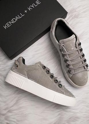 Kendall + kylie оригинал бархатные кеды на платформе бренд из сша