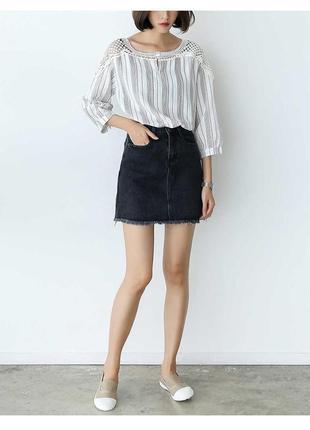 Джинсовая юбка трапеция, темно серая , с высокой талией