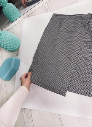 Серая юбка в клетку , клеточку5 фото