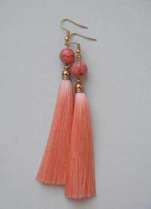 Персиковые серёжки кисточки