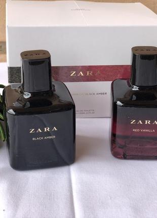 Духи в наборе zara red vanilla/black amber/парфюм /туалетная вода /парфуми/туалетна вода