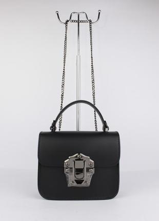 Кожаная мини-сумочка borse in pelle 323910-1 черная, италия
