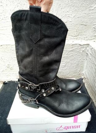 Сапоги, ботинки в ковбойском стиле из натуральной кожи от бренда san marina2 фото