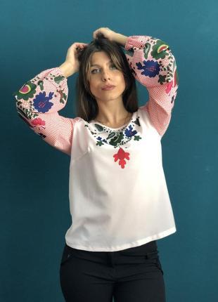 Акция 3 дня! sale розовая блуза з красивыми узорами s 44