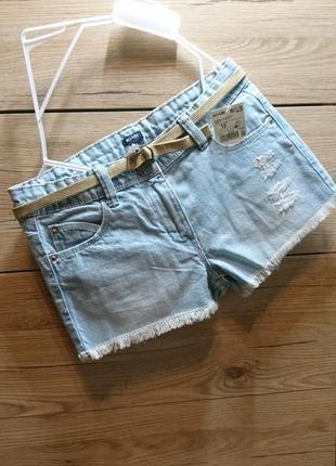 Стильные голубые джинсовые шорты kiabi на 10 лет ❤️