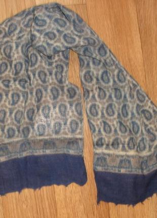 Тонкий шерстяной шарф 100% шерсть швейцария /108х26 см