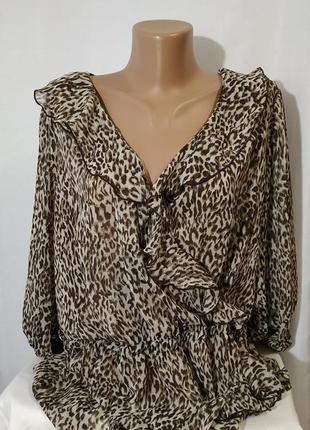 Блуза блузка размер ххл леопардового цвета легкая