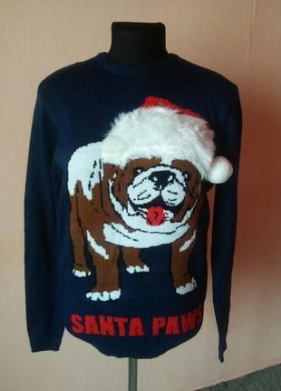 Суперский рождественский прикольный свитерок раз.m/l наш 48