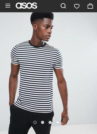 Мужская полосатая футболка asos p.xs