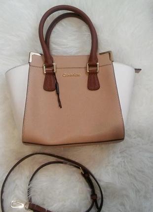 Кожаная брендовая сумка calvin klein  сафьяно
